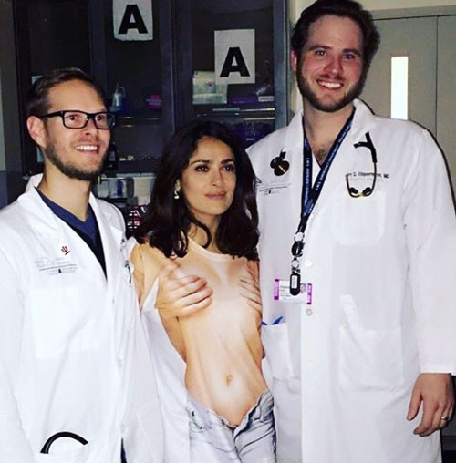 Open Post: Hosted By Salma Hayek's Hot Hospital Shirt