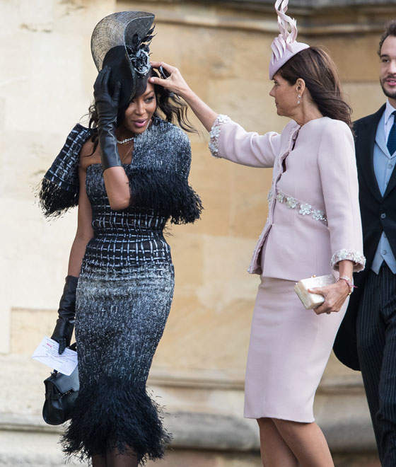 The Wind Tried To Take Down Naomi Campbell's Glamour At Princess Eugenie's Wedding